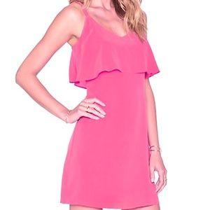 Joie Parthena Pink Silk Ruffle Blouson Slip Dress